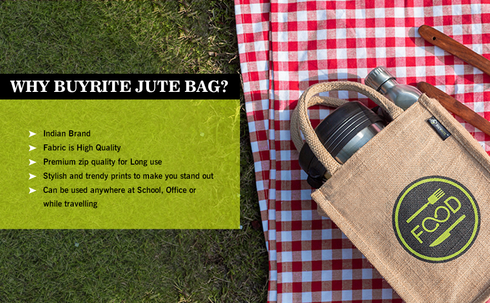 jute lunch bag with zip