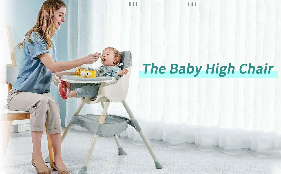 con cinturones de seguridad de 5 puntos bandeja extra/íble Caqui trona ajustable en altura Trona para beb/é Silla de comedor f/ácil de montar para ni/ños y ni/ñas