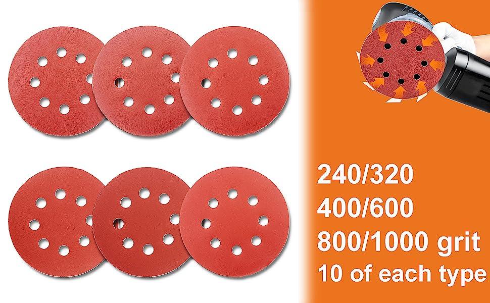 60pcs Sanding Discs 5 Inch 8 Holes 1000 800 600 400 320 240 Grit Sandpaper For Random Orbital Sander Amazon Com Industrial Scientific