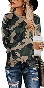 women casual leopard shirts for women camo tops for women long sleeve blouse clothes for women