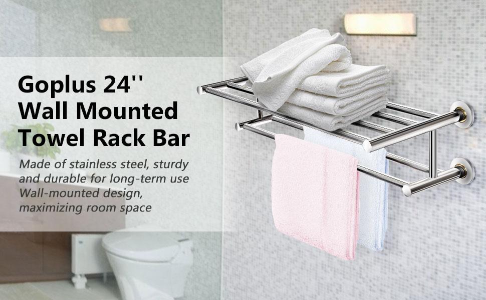 Stainless Steel Metal Towel Bar Wall Mounted Towel Holder Organizer Towel Shelf Storage Rail For Bathroom Kitchen Goplus 24 Towel Rack Home Kitchen Kolenik Storage Organization