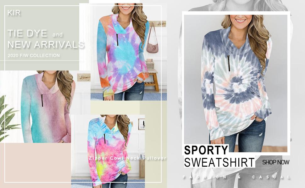 Winter Women's Long Sleeve Pullover Zipper Cowl Neck Tops Tie Dye Sporty Sweatshirts