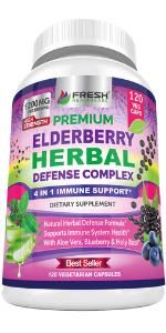 elderberry capsules immune support holy basil aloe vera