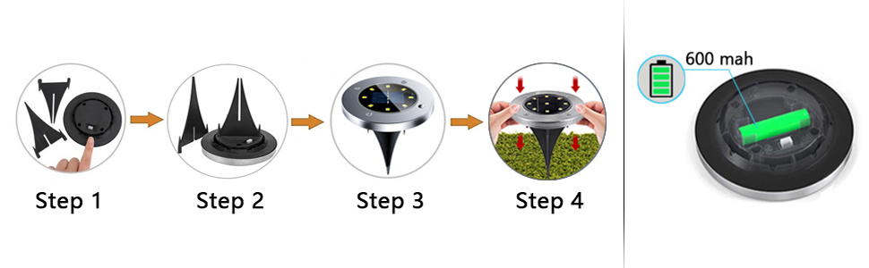 4er Solar Bodenleuchten Aussen,8 LEDs Garten Licht Lampenperlen Solar Leuchte Solarlampen Edelstahl Au/ßenleuchte Wasserdichtes Deck Lichter f/ür Hof Wei/ß Terrasse Treppe Landschaft