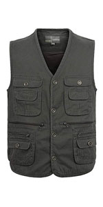 Men's Casual Cotton Outdoor Work Safari Travel Photo Vest with Multi Pockets