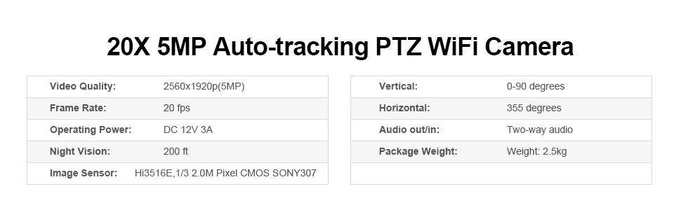 Auto-tracking 20x 5MP ptz outdoor camera