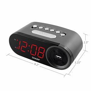 sharp alarm clock travel clock charging USB alarm clock bedroom office kitchen