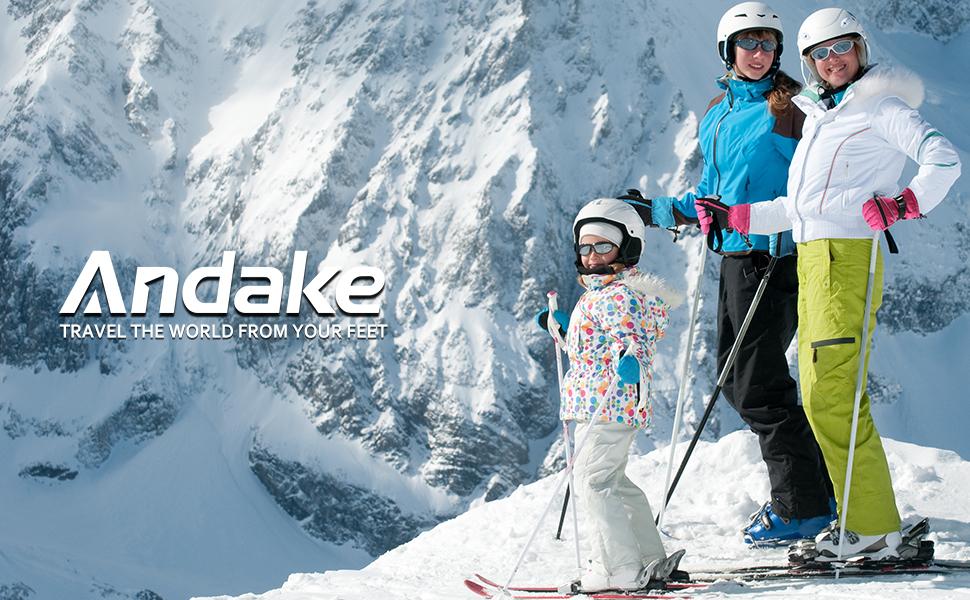 /équitation Snowboard et Sports en Plein air Andake Gants de Ski Femmes 3M Thinsulate Touchscreen Chaud Imperm/éable Coupe-Vent Gants dhiver avec adapt/és Ski Gris et Rose, M