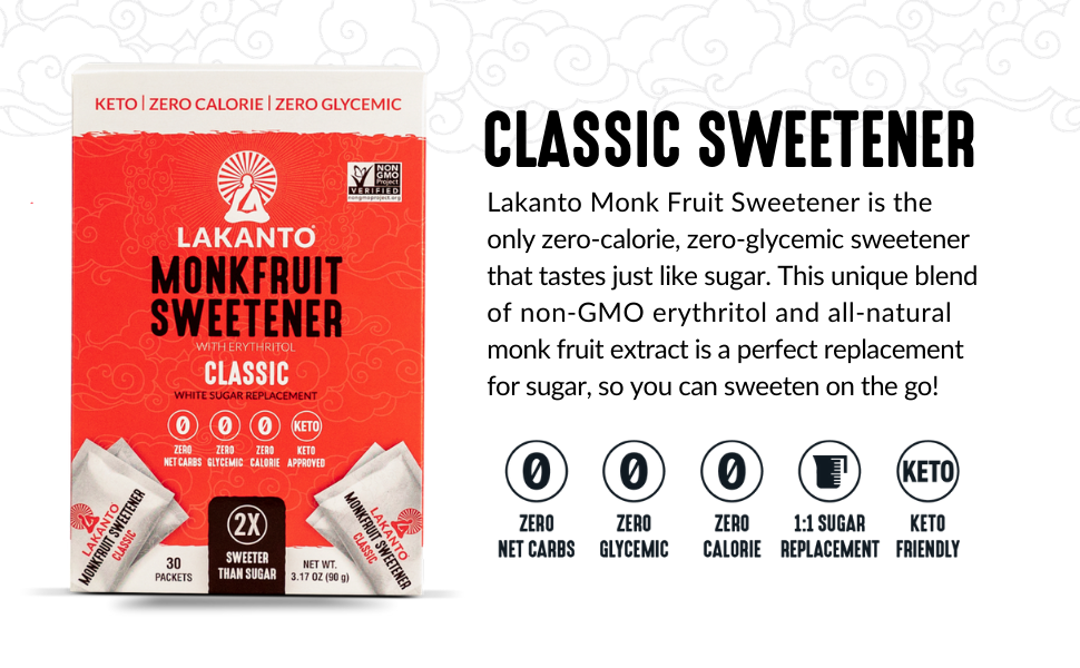 classic sweetener, monk fruit, monkfruit, sugar replacement, baking, packets, on-the-go