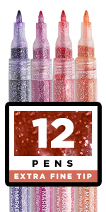 Glitter Paint Pens for Rock Painting, Scrapbook Journals, Photo Albums, Card Stocks,