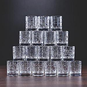 stack whiskey glasses Map