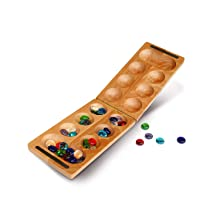 foldable natural wood mancala board