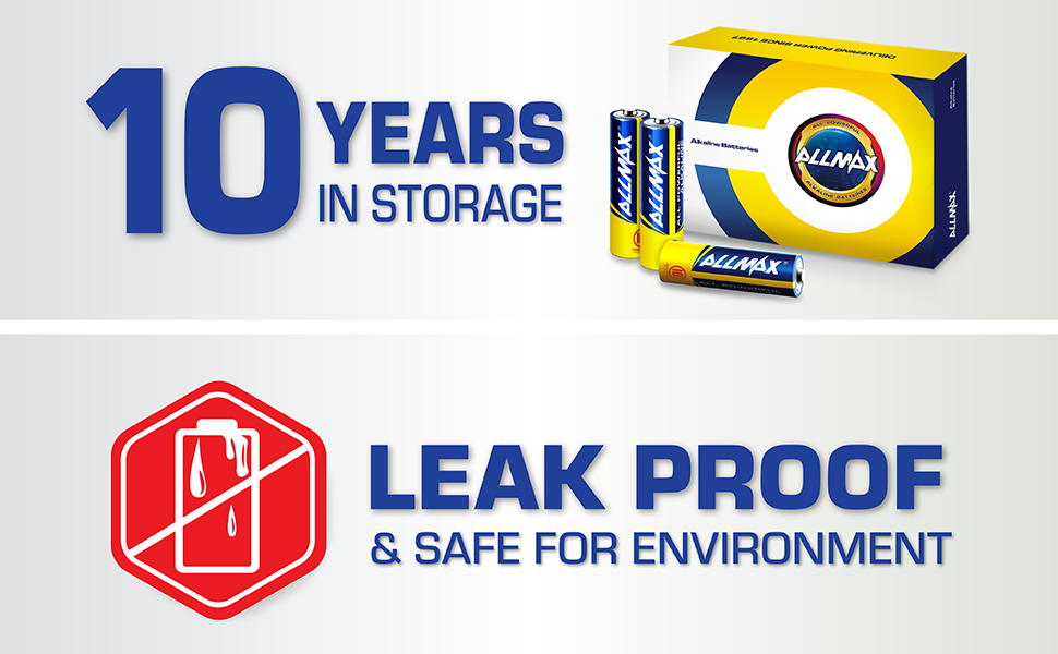 10 years in storage, leak proof, safe for environment battery