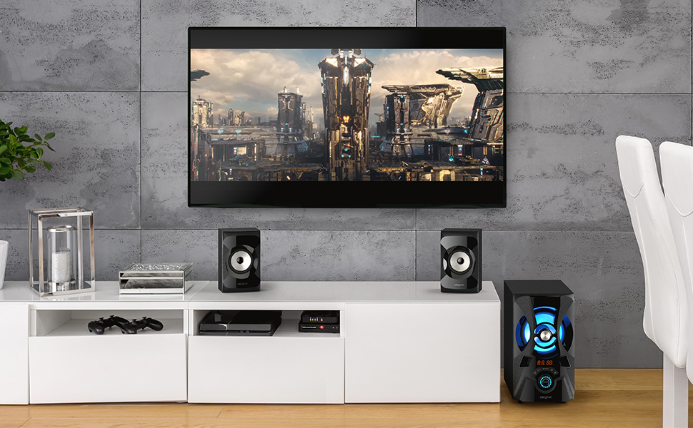 modern living room with tv and tv console, and Creative SBS E2900 speaker and subwoofer