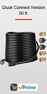 Kink Free 3200 PSI 50 FT Pressure Washer hose with quick connectors