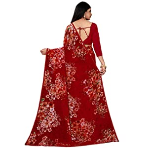 georgette printed lace piping saree sari trendy stylish casual office red floral