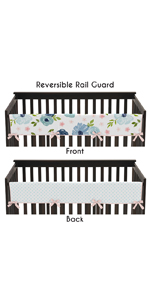 Navy Blue and Pink Watercolor Floral Girl Long Front Crib Rail Guard Baby Teething Protector Wrap