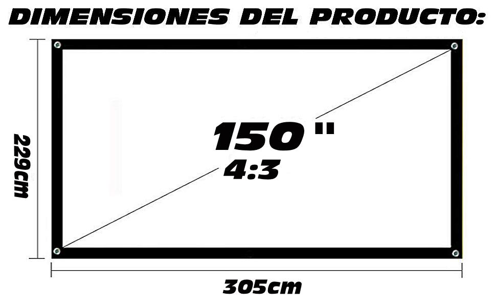 """tela de proyeccion 150"""", tela luxscreen, pantalla de proyeccion luxscreen, pantalla para proyector"""