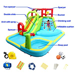 WELLFUNTIME Outdoor Inflatable Water Park with Blower and Deep Pool, Water Bucket, Dual Water Slide