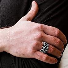 mens wedding band ring rings men's oxidized black detail stainless steel tribal steve madden flame
