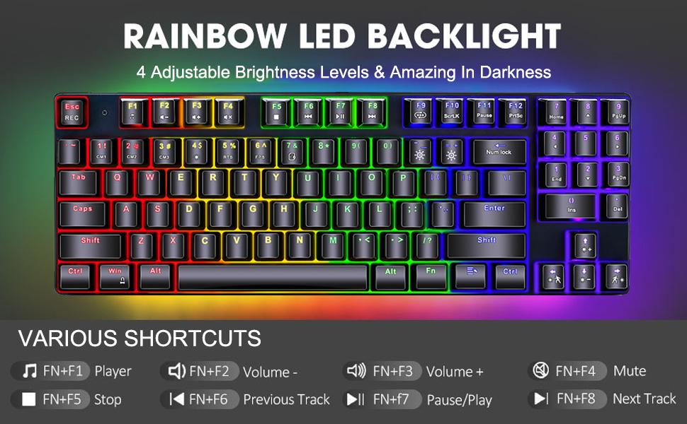 PC Gaming Keyboard,Wired Gaming Keyboard,RGB Backlit Gaming Keyboard,Windows PC Gamers Keyboard