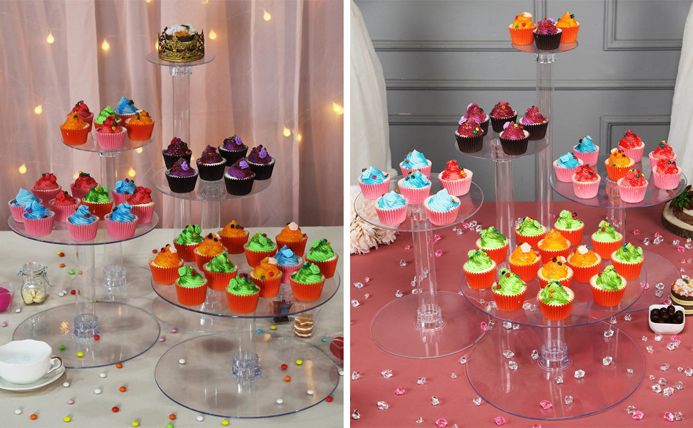 5 Tiers Clear Round Crystal Acrylic Cupcake Stand