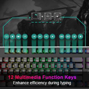 12 multimedia function gaming keyboard