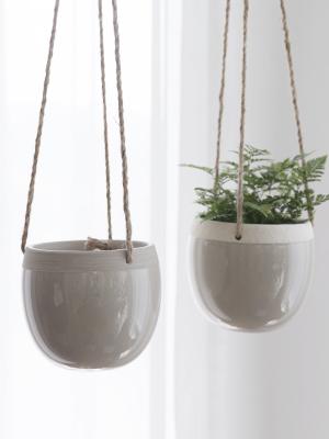 Cracked Design Ceramic Hanging Planters