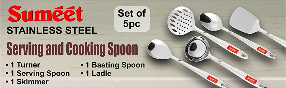Stainless Steel Serving & Cooking Spoon Set of  Turner, Serving Spoon, Skimmer, Basting Spoon, Ladle