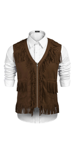 Mens Western Cowboy Costume Hippie Casual V Neck Zipper Leather Fringe Waistcoat