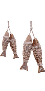 YUMBOR Set of 4 Hanging Vintage Carved Wooden Fish with Fishing Net Decor