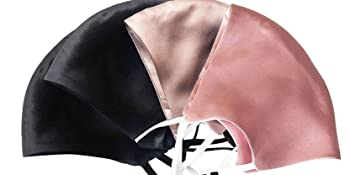 4pcs silk face mask-2 black, 1 pink,1 pastel grey