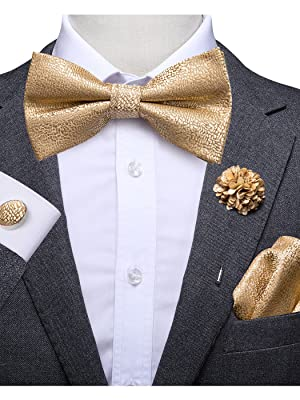 Dubulle Bow Tie and Lapel pin Set with Pocket Square Cufflinks