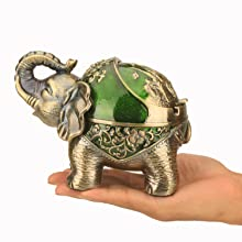 Elephant Windproof Décor Ashtray with Lid for Cigarette Metal Weed Indoor Outdoor Ash Holder Smoker