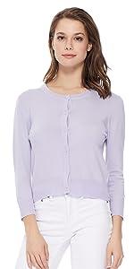 YEMAK Women's 3/4 Sleeve Crewneck Casual Stretchy Button Down Cardigan Sweater