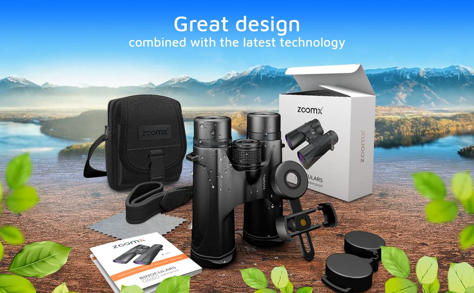 Stellax ZoomX Binoculars for Adults. 10x42 Waterproof Lightweight Compact Binocular Prism Bak4