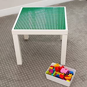 Duplo compatible play table built using Creative QT Duplo Peel and Stick baseplates