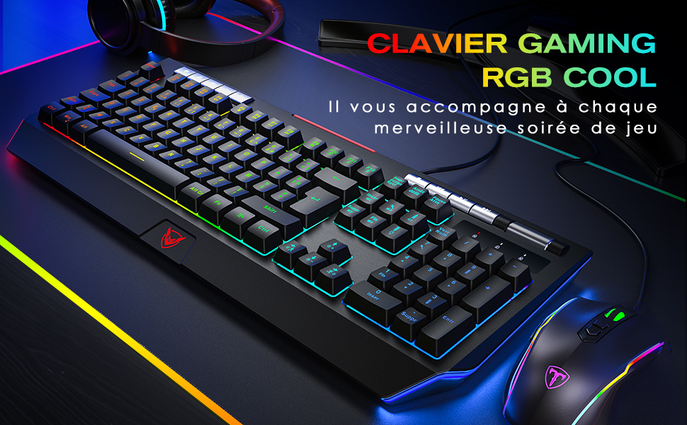 PICTEK Clavier Gamer RGB USB Filaire AZERTY Rétroéclairage Personnalisable avec 9 Touches Multimédias IndépendantsMolette de VolumeSupport de