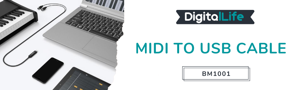 DigitalLife Cable de Interfaz MIDI a USB para MIDI Piano/Tambor - Compatible con Mac/PC/teléfono [BM1003]