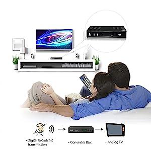 digital to analog digital broadcast transmission converter box analog tv