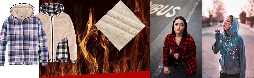 Women's Plaid Flannel Shirt Sherpa Fleece Hoodies Full Zip Sweatshirt Jacket cardigan