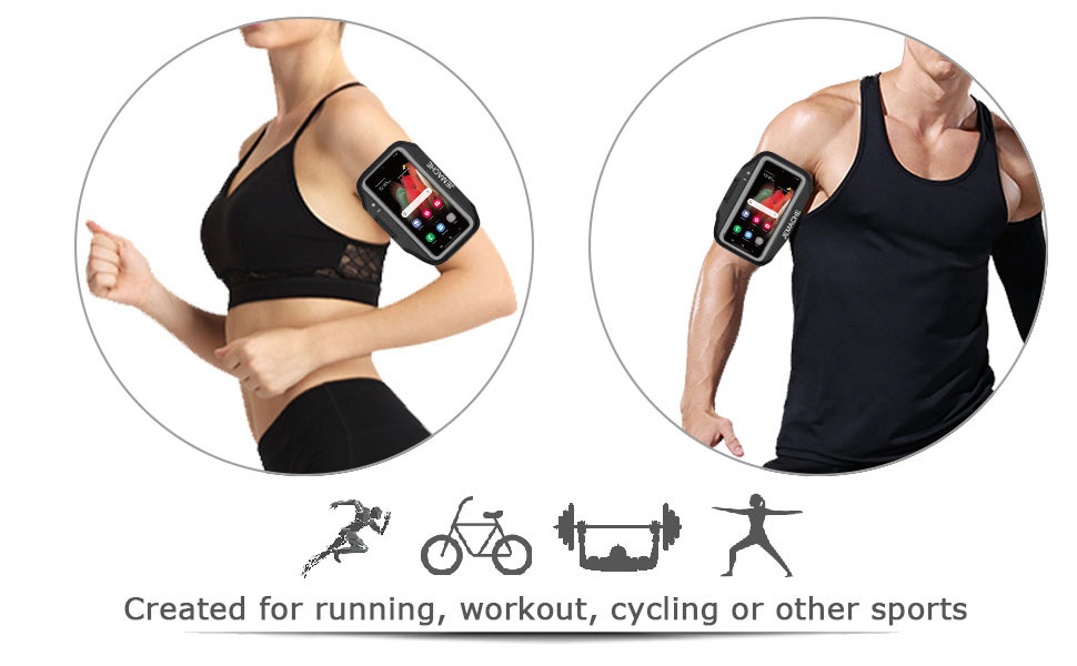 JEMACHE Gym Running Workouts Phone Arm Band for Samsung Galaxy S20 Plus, S20 FE, S21 Plus 5G