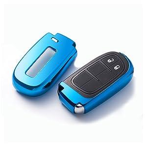 Ontto Smart Autoschlüssel Hülle Abdeckung Schlüssel Tasche Tpu Silikon Schlüsselschutz Schlüsselanhänger Für Jeep Grand Cherokee Dodge Challenger Charger Dart Durango Journey Chrysler 300 Gold Auto