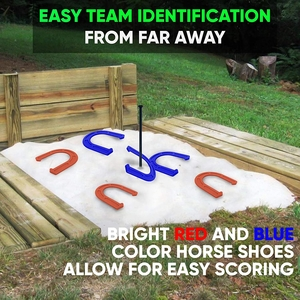 lawn horseshoes game kids family outdoor backyard horse shoes set kit sturdy steel spikes safe