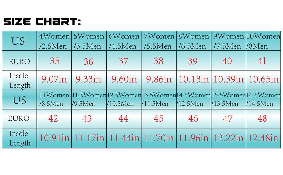 L-RUN size chart