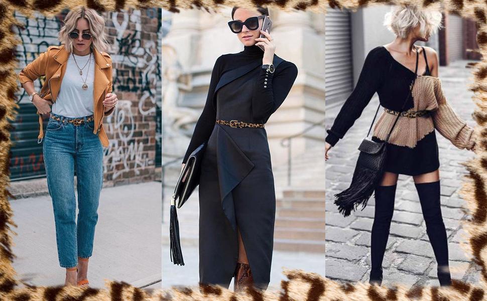 skinny leopard belts for women