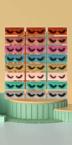 24 pairs lashes with 24 portable boxes