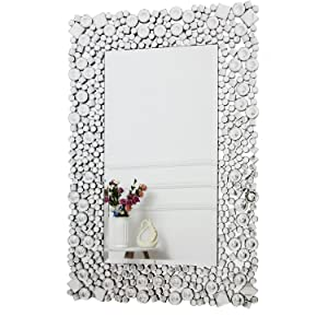 Richtop Wall Mirror Big Black Wood Backing Silver Wall Make Up Mirror With Glitter Jewelled Crystal Make Up Mirror Wall Mount For Living Room Hallway Amazon De Home Kitchen