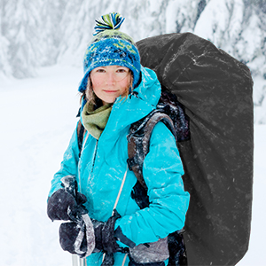 Backpack cover features snowproof and not freeze in the snow.