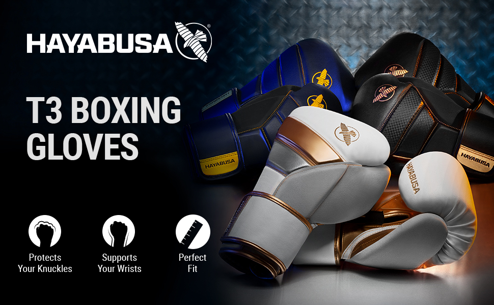 Group Image T3 Boxing Gloves White Gold, Black Gold and Navy Blue